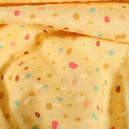 Tissu Plumetis Coton Pois colorés déstructurés sur fond Jaune - Par 10 cm