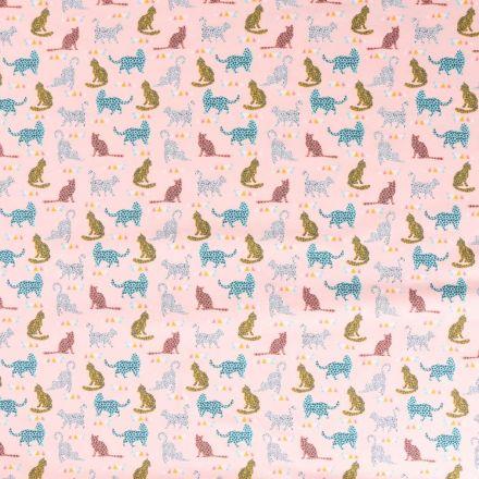 Tissu Jersey coton Bio envers molletonné  Chats multicolore tachetés sur fond Rose - Par 10 cm