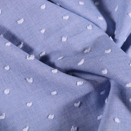 Tissu Plumetis léger  Pois blanc sur fond Bleu - Par 10 cm