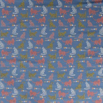 Tissu Jersey coton Bio envers molletonné  Chats multicolore tachetés sur fond Bleu denim - Par 10 cm