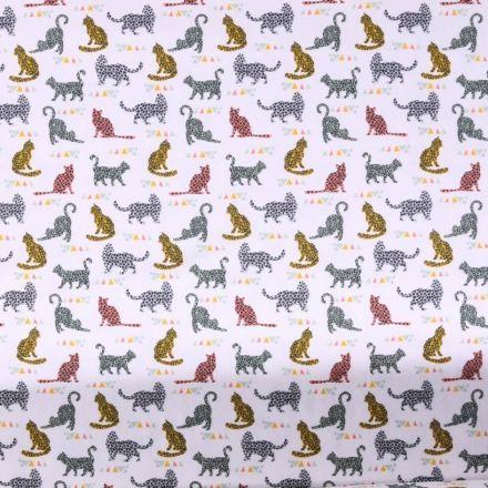 Tissu Jersey coton Bio envers molletonné  Chats  multicolore tachetés sur fond Blanc - Par 10 cm