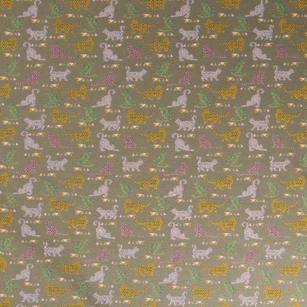 Tissu Jersey coton Bio envers molletonné  Chats multicolore tachetés sur fond Vert kaki - Par 10 cm