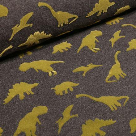 Tissu Jersey Coton Dinosaures velours sur fond Gris foncé chiné - Par 10 cm