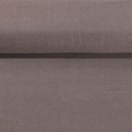 Tissu Lin lavé Viscose uni Taupe - Par 10 cm