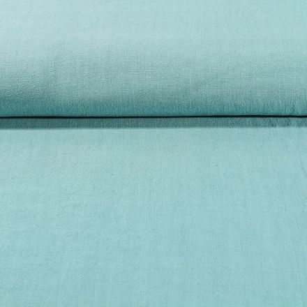 Tissu Lin lavé Viscose uni Vert céladon - Par 10 cm
