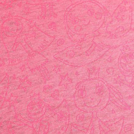 Tissu Maille Jersey Princesses Dessinées sur fond Rose chiné - Par 10 cm