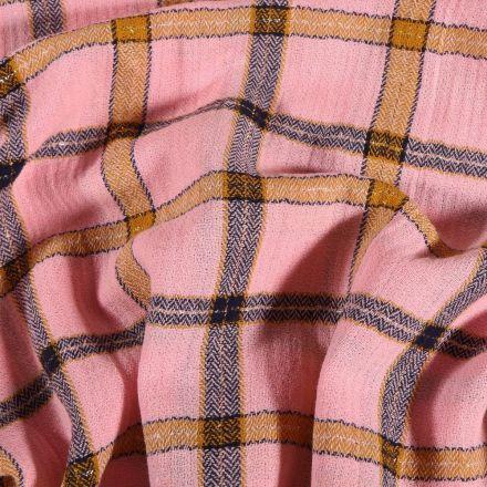 Tissu Double gaze Carreaux lurex sur fond Rose - Par 10 cm