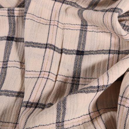 Tissu Double gaze Carreaux lurex sur fond Beige - Par 10 cm