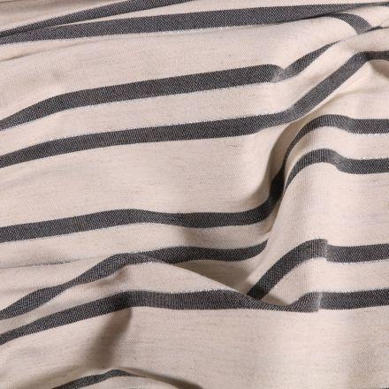 Tissu Viscose Lin Lurex Rayures grises sur fond Naturel - Par 10 cm