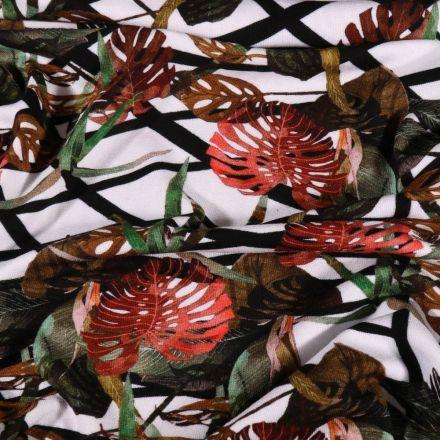 Tissu Jersey Viscose Feuilles et branches sur fond Blanc - Par 10 cm