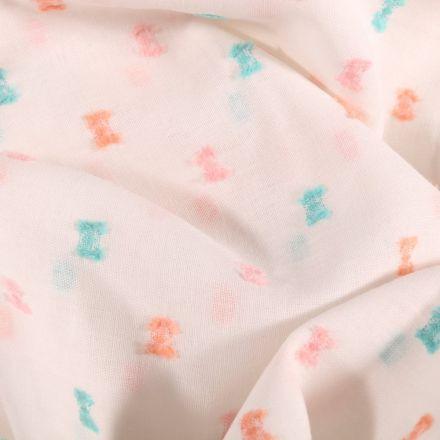 Tissu Plumetis Coton léger Petits nœuds pastels sur fond Blanc - Par 10 cm