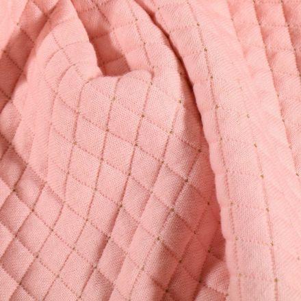 Tissu Sweat léger matelassé Rayures lurex or sur fond Rose bébé - Par 10 cm