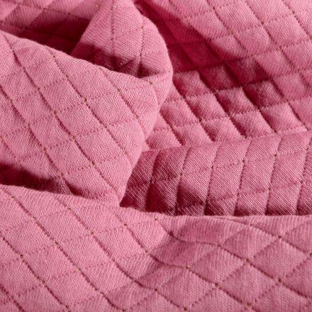 Tissu Sweat léger matelassé Rayures lurex or sur fond Rose - Par 10 cm