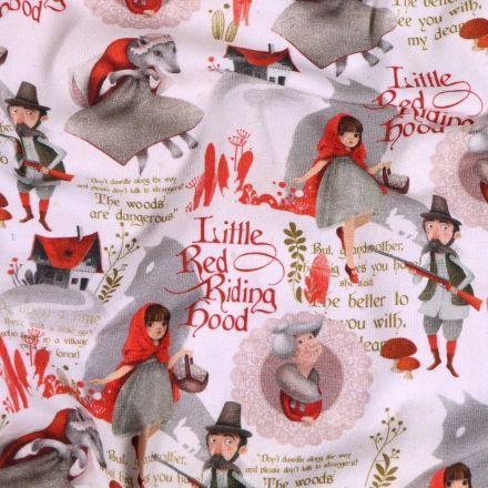 Tissu Jersey Coton Petit chaperon rouge sur fond Blanc - Par 10 cm