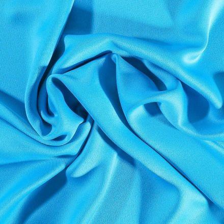 Tissu Crêpe satin mat Bleu turquoise - Par 10 cm