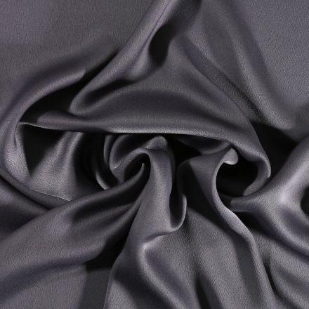 Tissu Crêpe satin mat Gris anthracite - Par 10 cm