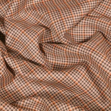 Tissu Jacquard Jersey Prince de galles orange sur fond Beige - Par 10 cm