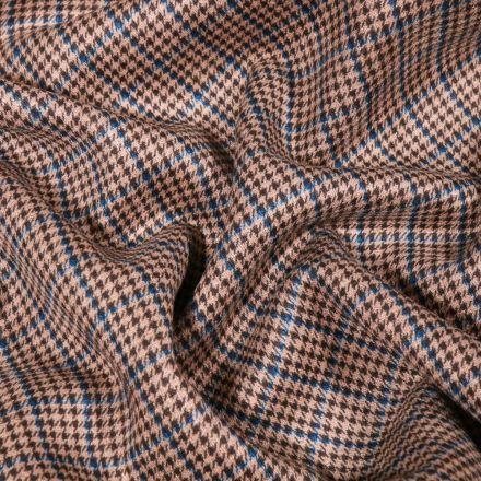 Tissu Jacquard Jersey Prince de galles bleu sur fond Beige - Par 10 cm