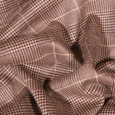 Tissu Jacquard Jersey carreaux écossais sur fond Beige - Par 10 cm