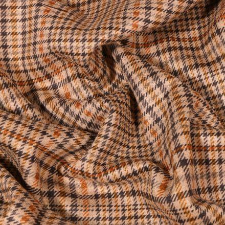 Tissu Jacquard Jersey Ecossais orange sur fond Beige - Par 10 cm