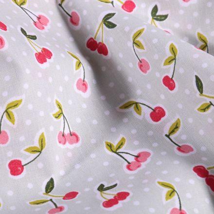 Tissu Coton imprimé LittleBird Cerises Pop sur fond Vert menthe clair - Par 10 cm