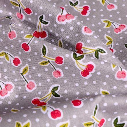 Tissu Coton imprimé LittleBird Cerises Pop sur fond Gris - Par 10 cm