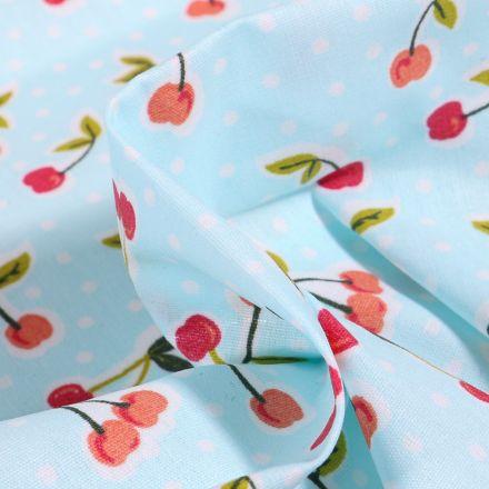 Tissu Coton enduit Cerises et pois sur fond Bleu
