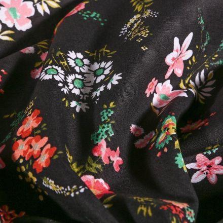Tissu Coton imprimé Bouquets de fleurs sur fond Noir - Par 10 cm
