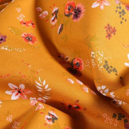 Tissu Coton imprimé Bouquets de fleurs sur fond Moutarde - Par 10 cm