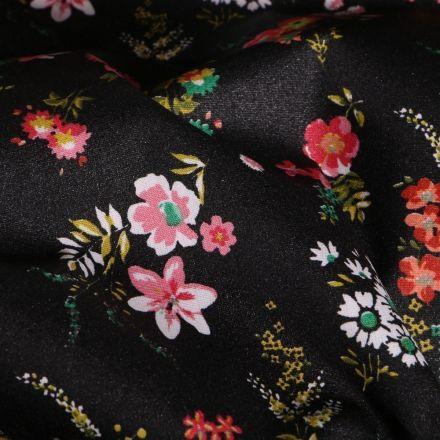 Tissu Coton enduit Bouquets de fleurs sur fond Noir - Par 10 cm