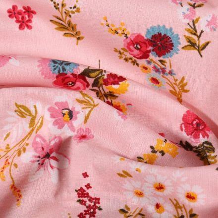 Tissu Coton enduit Bouquets de fleurs sur fond Rose - Par 10 cm