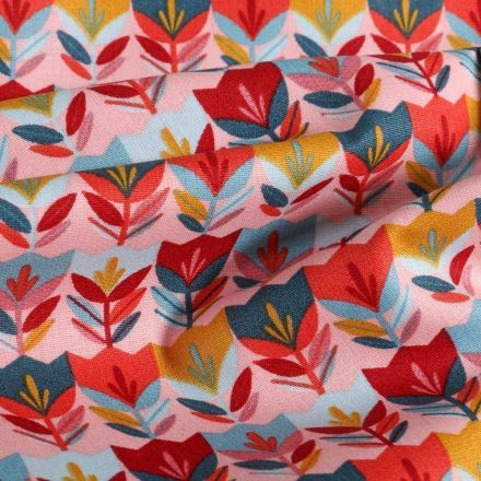 Tissu Coton imprimé LittleBird Tulipes Pop sur fond Rose - Par 10 cm