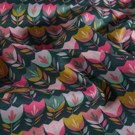 Tissu Coton imprimé LittleBird Tulipes Pop sur fond Vert canard - Par 10 cm