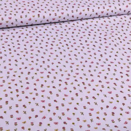 Tissu Coton imprimé Petits bouquets de fleurs et papillons sur fond Gris - Par 10 cm