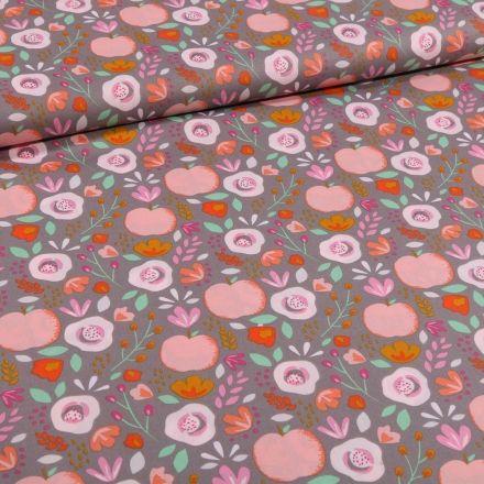 Tissu Coton imprimé LittleBird Pommes et fleurs seventies sur fond Gris - Par 10 cm