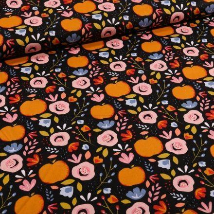Tissu Coton imprimé LittleBird Pommes et fleurs seventies sur fond Noir - Par 10 cm
