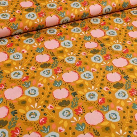 Tissu Coton imprimé LittleBird Pommes et fleurs seventies sur fond Jaune curcuma - Par 10 cm