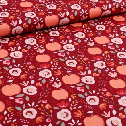 Tissu Coton imprimé LittleBird Pommes et fleurs seventies sur fond Bordeaux - Par 10 cm