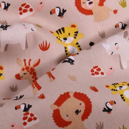 Tissu Coton imprimé LittleBird Peluches Savane sur fond Beige - Par 10 cm