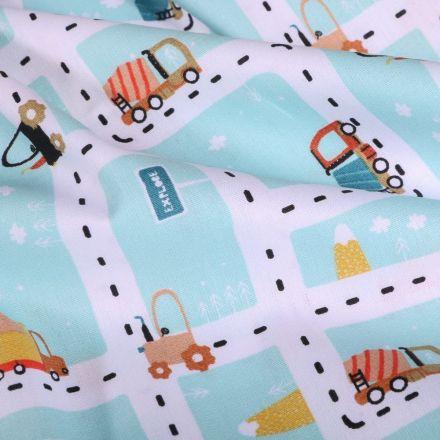 Tissu Coton imprimé LittleBird Ville en travaux sur fond Bleu ciel - Par 10 cm