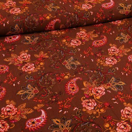 Tissu Viscose Motif cachemires  et arabesques fleuris sur fond Bordeaux - Par 10 cm