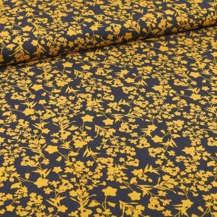 Tissu Viscose Bouquets de fleurs jaunes sur fond Bleu marine - Par 10 cm