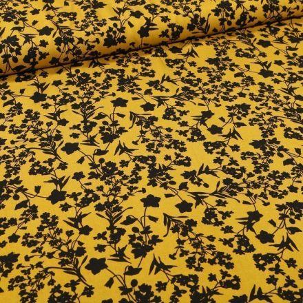 Tissu Viscose Bouquets de fleurs noirs sur fond Jaune - Par 10 cm