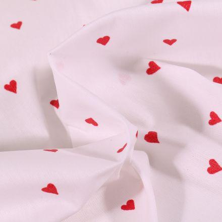 Tissu Coton enduit Petits cœurs rouges sur fond Blanc