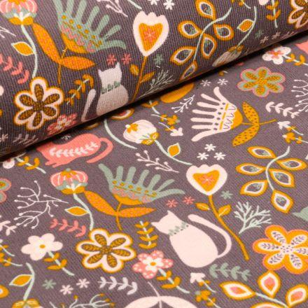 Tissu Velours milleraies Chats et fleurs colorés sur fond Taupe