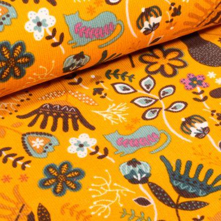 Tissu Velours milleraies Chats et fleurs colorés sur fond Jaune