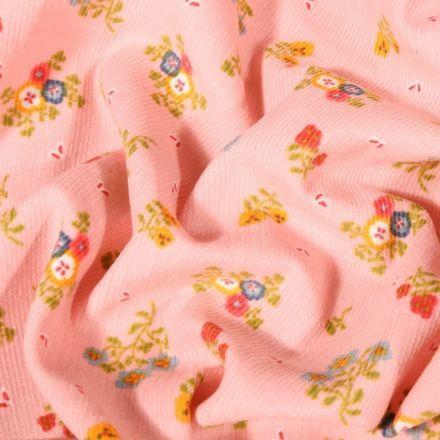Tissu Velours milleraies Fleuris sur fond Rose - Par 10 cm