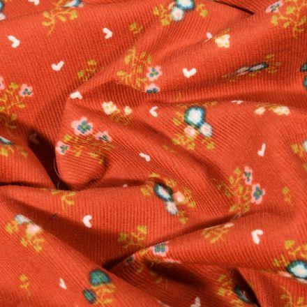 Tissu Velours milleraies Fleuris sur fond Rouille - Par 10 cm