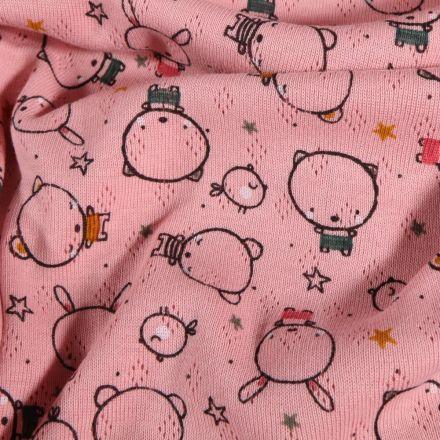 Tissu Jersey ajouré Petits oursons et lapins sur fond Rose - Par 10 cm