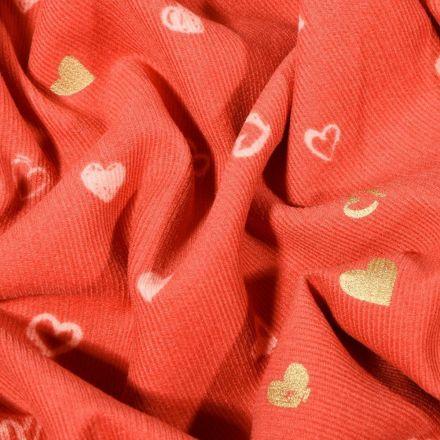 Tissu Velours milleraies Petits cœurs dorés sur fond Corail - Par 10 cm